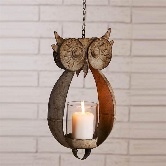 wundersch nes windlicht in form einer eule kerzenschein f r. Black Bedroom Furniture Sets. Home Design Ideas